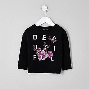 Schwarzes Sweatshirt mit Blumenmuster