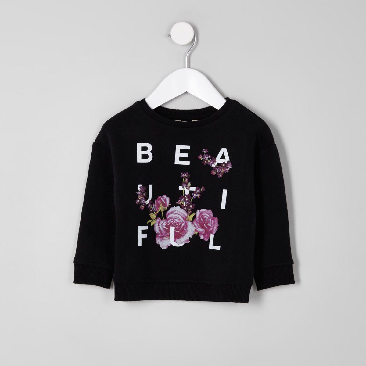 Mini girls black floral print sweatshirt