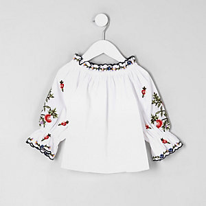 Mini girls white poplin bardot top