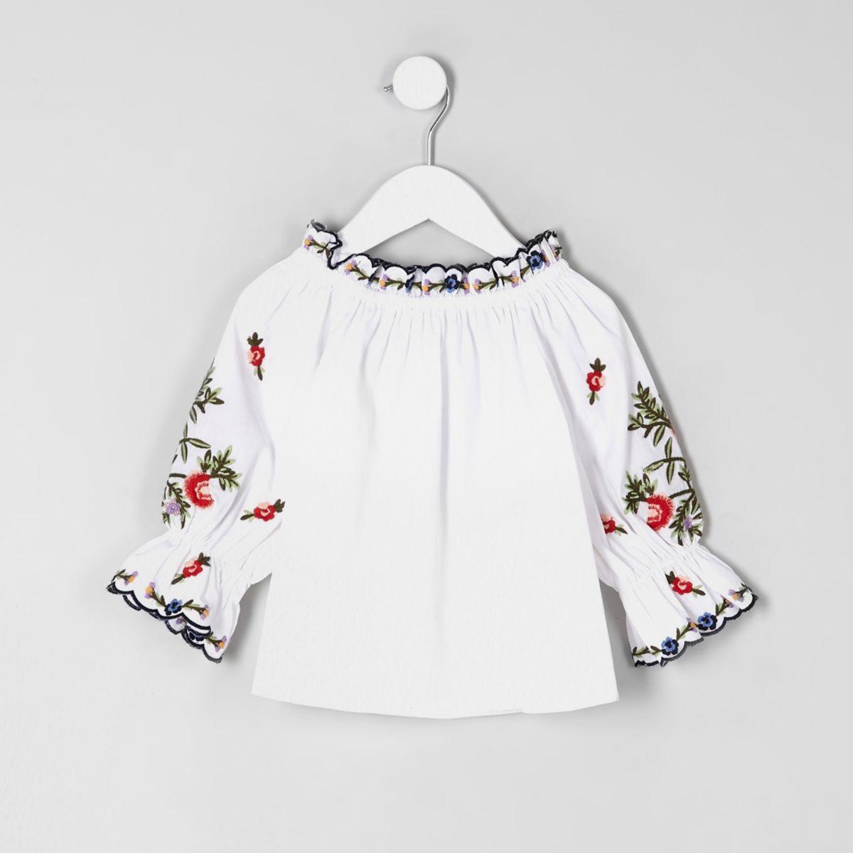 Mini girls white poplin bardot top