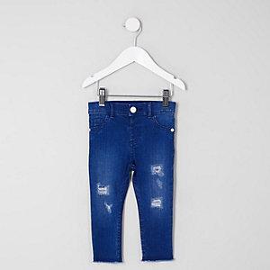 Mini - Molly - Blauwe ripped jeans met onafgewerkte zoom voor meisjes