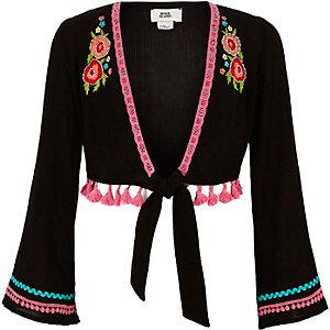 Zwart geborduurd vest met bloemenprint voor meisjes