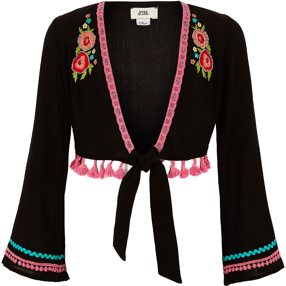 Girls black floral embroidered cover up