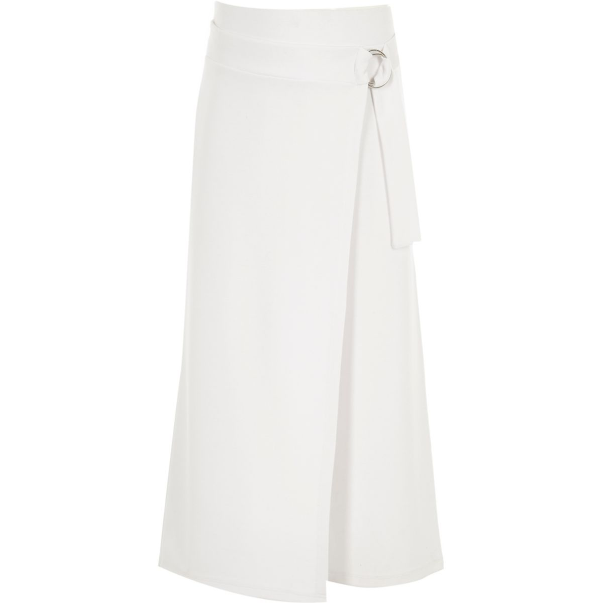 Girls white D-ring wrap culottes