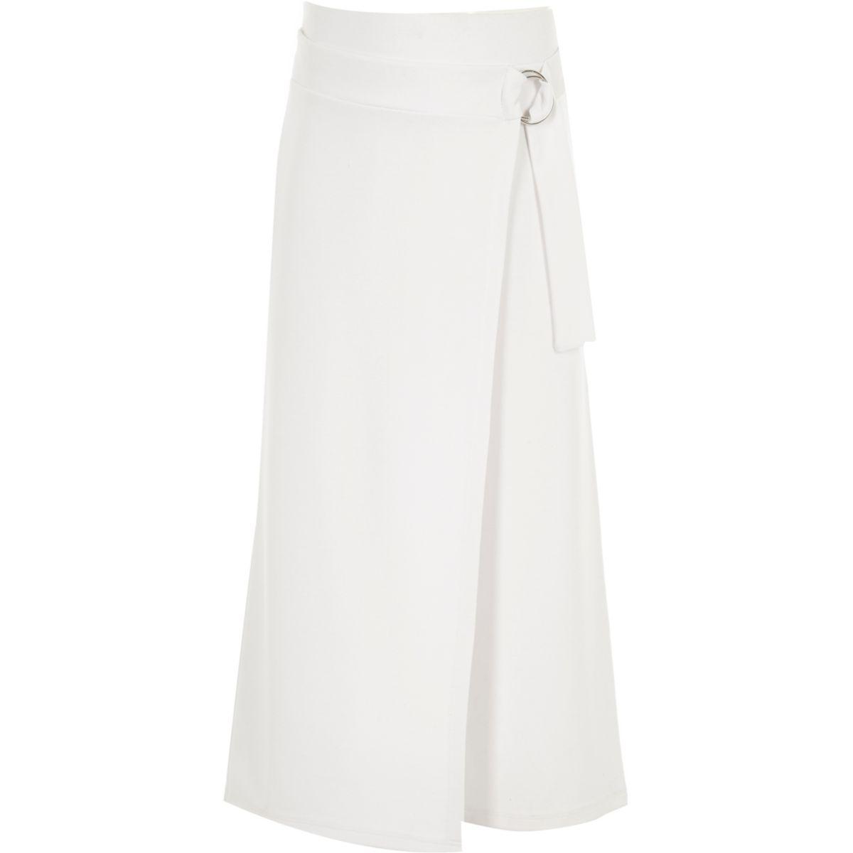 Jupe-culotte blanche style portefeuille avec anneau en D pour fille