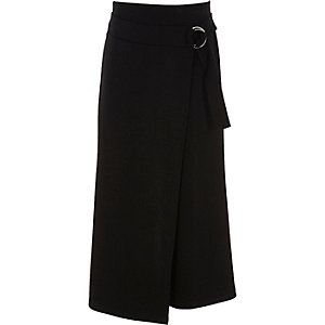 Girls black D-ring wrap culottes