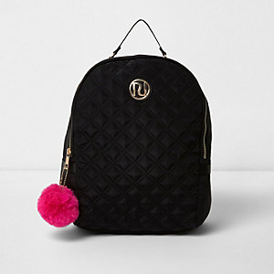 Girls black quilted pom pom backpack