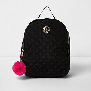 Zwarte gewatteerde rugzak met pompons voor meisjes