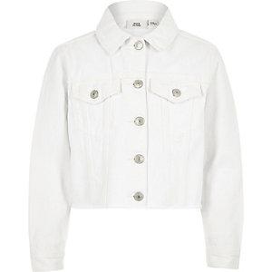 Veste en jean blanche à ourlet effiloché pour fille
