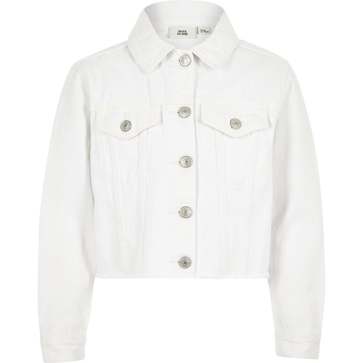 Girls white frayed hem denim jacket