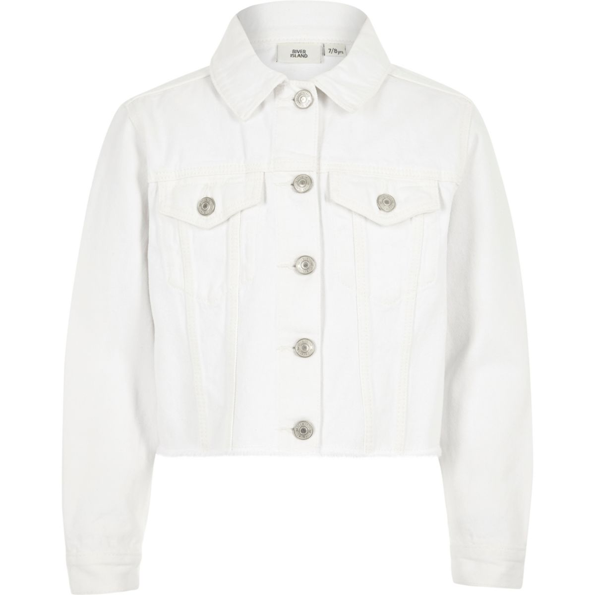 Girls white frayed hem denim jacket