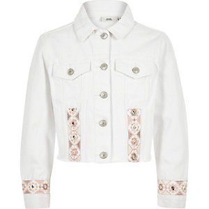 Girls white embroidered trim denim jacket