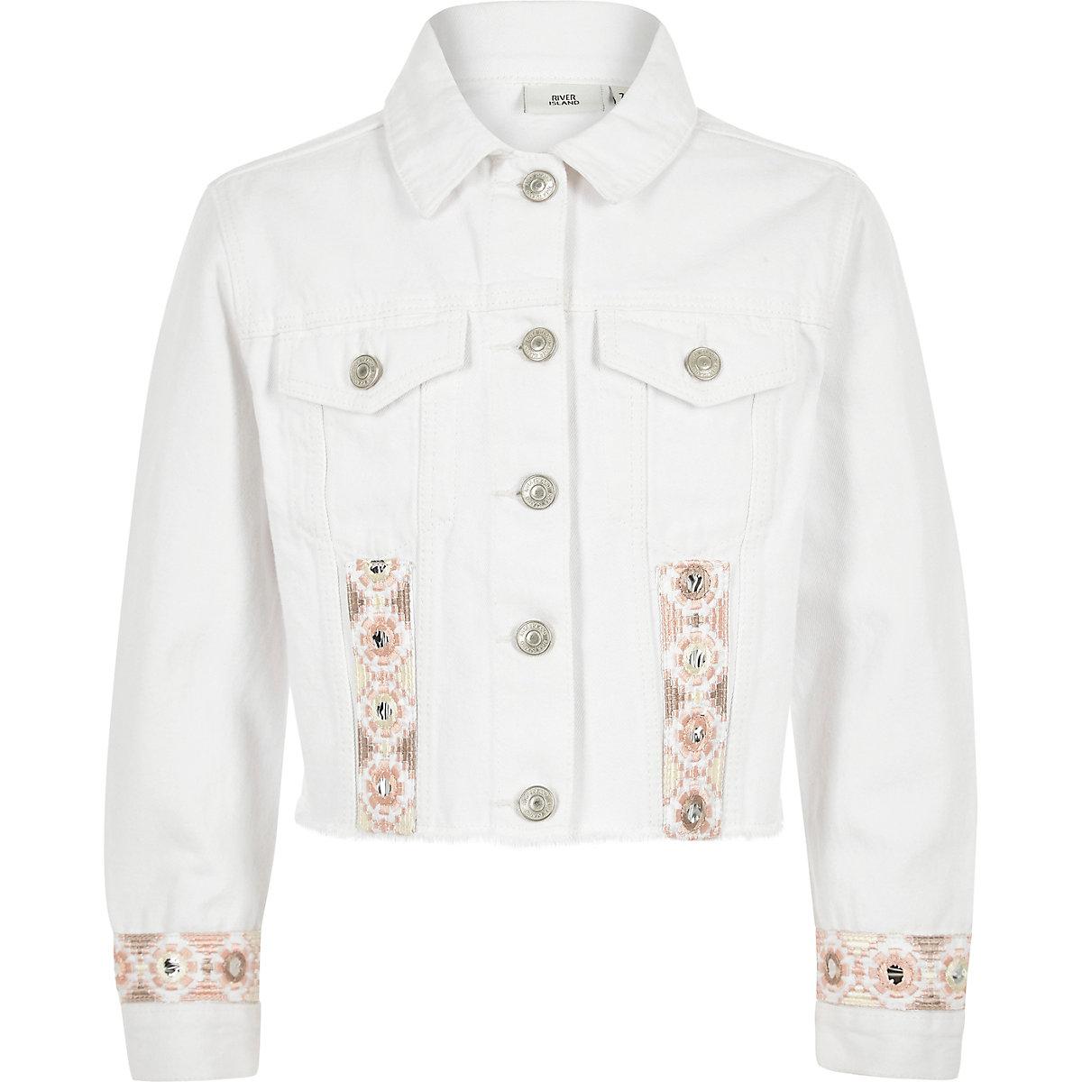 Girls white embroidered trim denim jacket