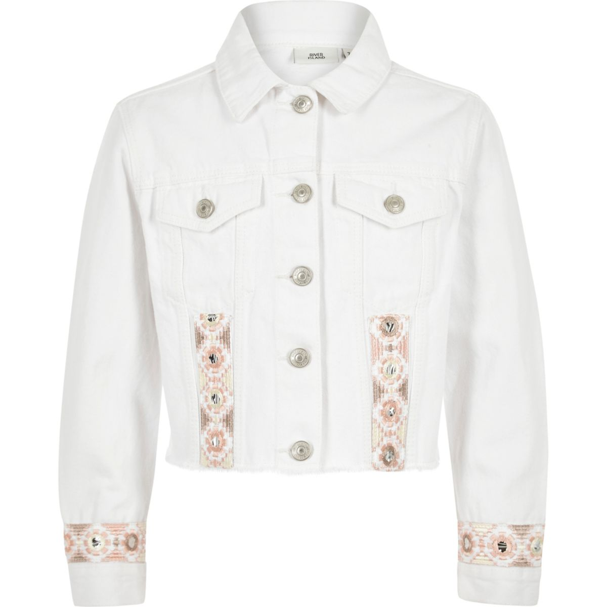 competitive price 6472c a2e5e Girls white embroidered trim denim jacket