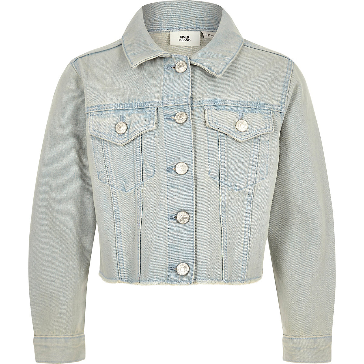 Girls Light Blue Frayed Hem Denim Jacket Jackets Coats Jackets