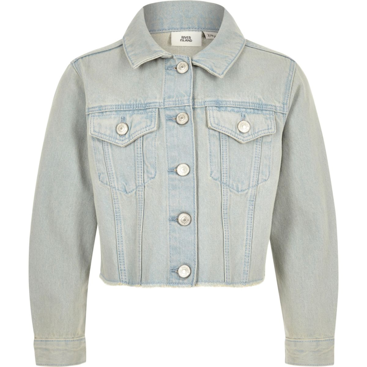 Girls light blue frayed hem denim jacket