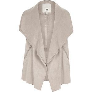 Girls grey sleeveless waterfall jacket