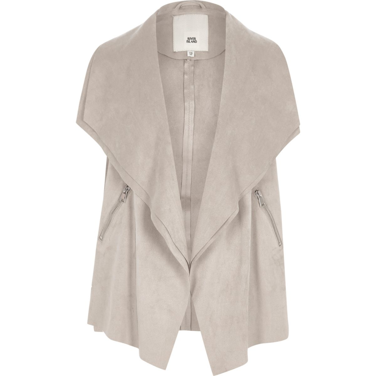 Girls grey sleeveless waterfall jacket
