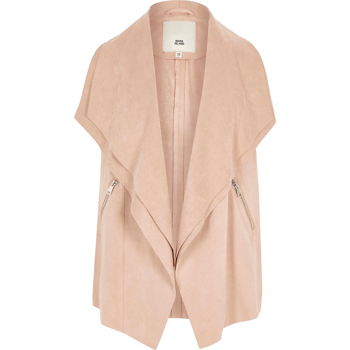 Girls cream sleeveless waterfall jacket