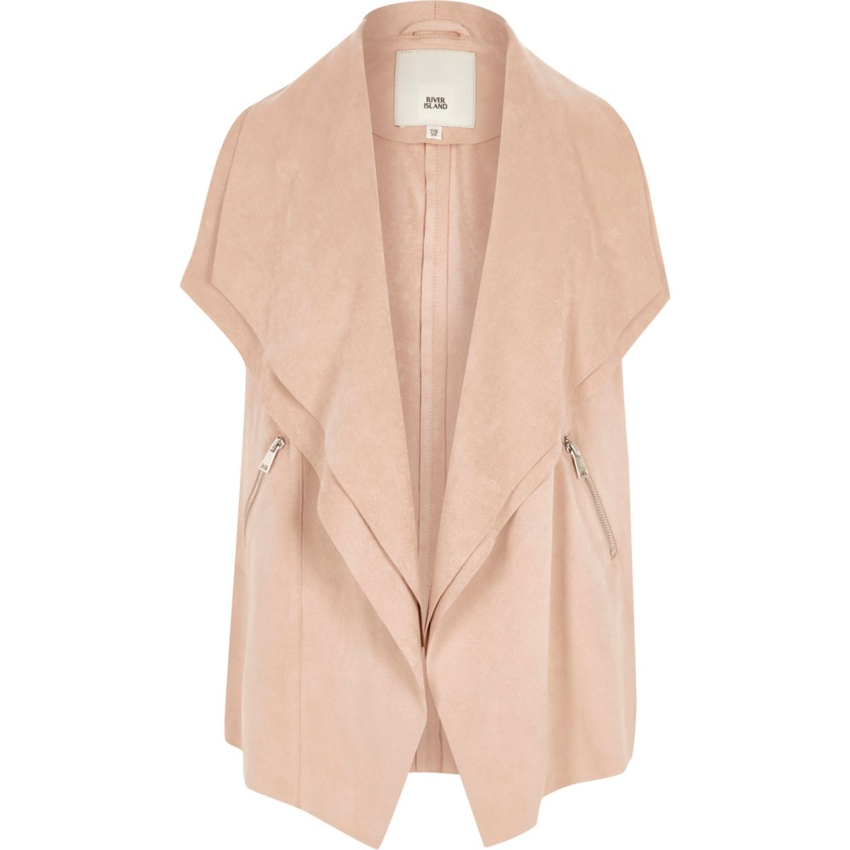 Girls cream sleeveless waterfall jacket