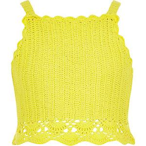Crop top au crochet jaune à bretelles fines pour fille