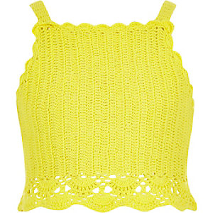 Gele gehaakte cami crop top voor meisjes
