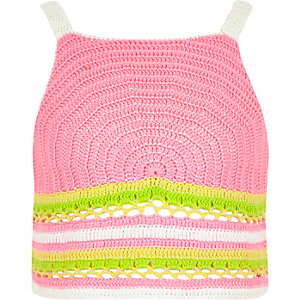 Girls pink rainbow crochet crop top