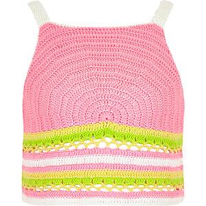 Roze gehaakte crop top met regenboogprint voor meisjes
