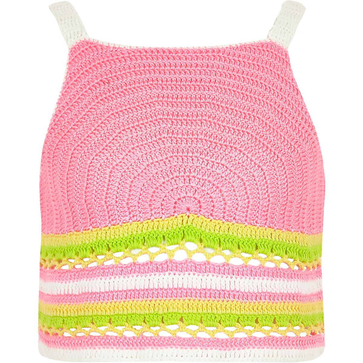 Girls pink rainbow crochet crop top