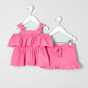 Mini girls pink bardot top and shorts outfit