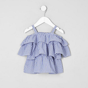 Mini girls blue stripe tiered bardot top