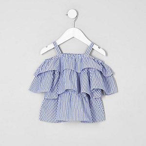 Mini girls blue stripe tiered bardot top