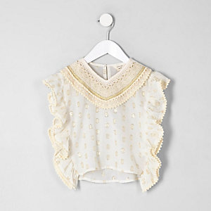 Mini girls cream crochet trim caftan