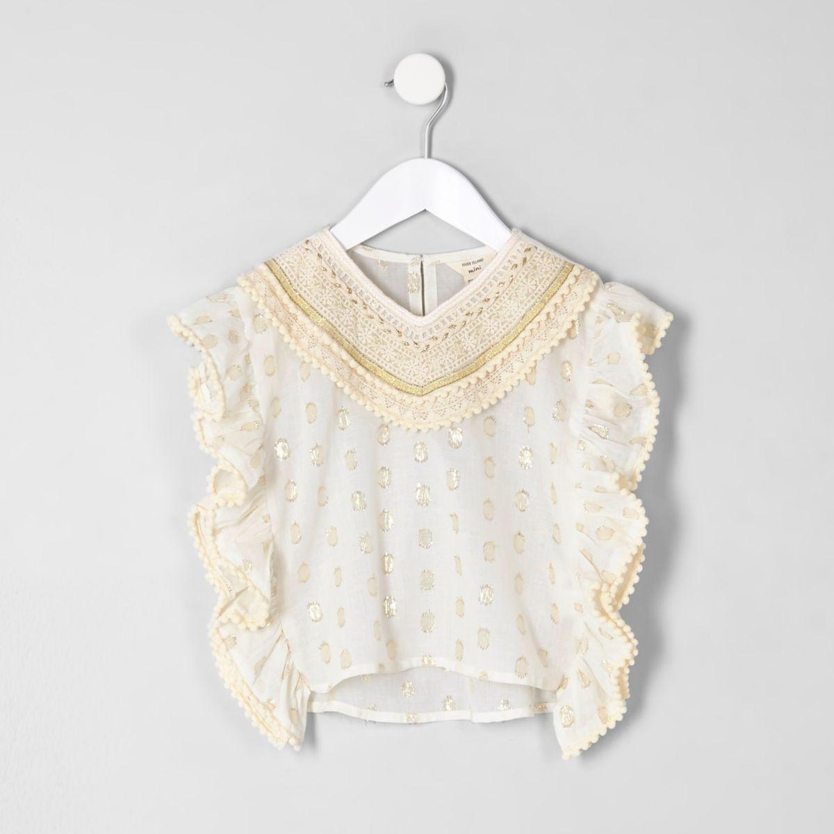 Mini girls cream crochet trim caftan