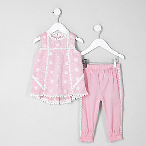 Mini girls pink swing shell top set
