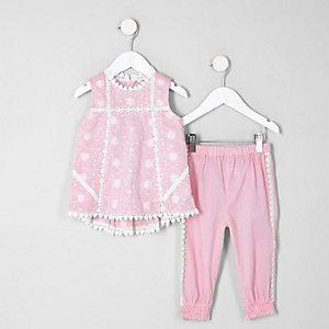 Mini - Set met roze wijduitlopende top voor meisjes