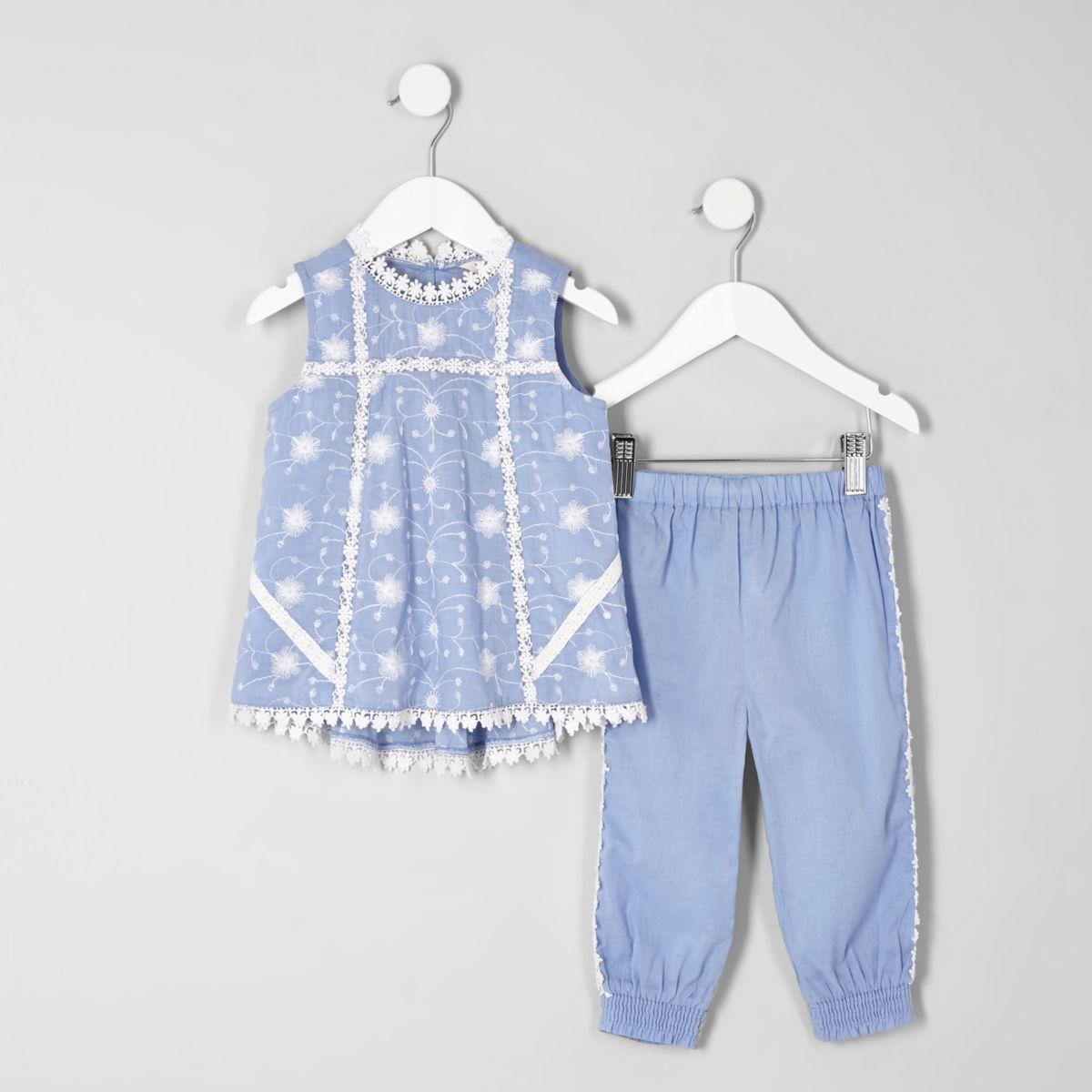 Mini girls blue swing shell top set