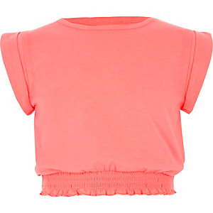 Koraalrood T-shirt met gesmokte zoom voor meisjes