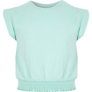 Girls mint green shirred hem T-shirt