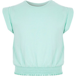 Girls mint green shirred hem T-shirt