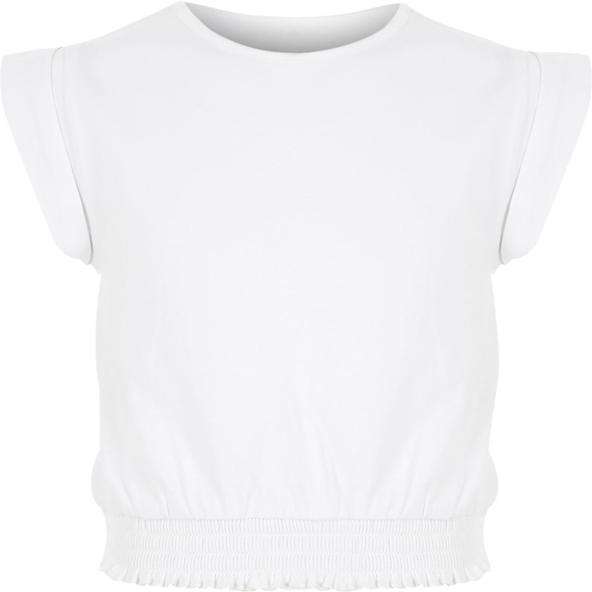 Girls white shirred hem T-shirt