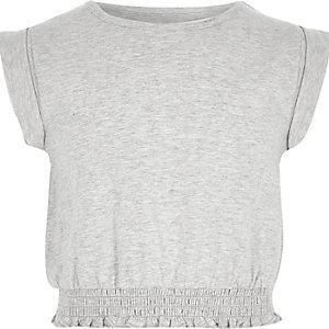 Lichtgrijs kort T-shirt met omgeslagen mouwen voor meisjes