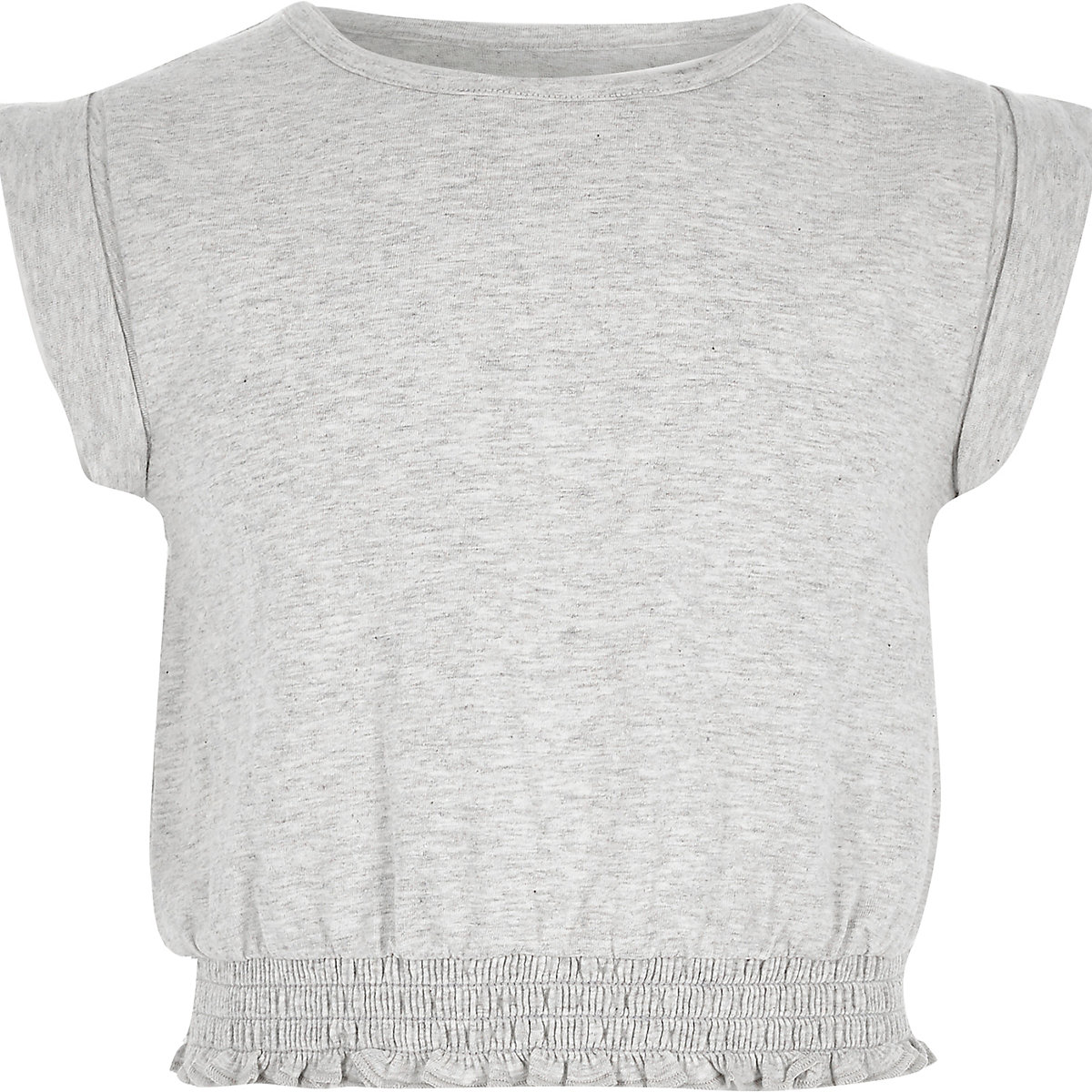 Girls light grey short turn up sleeve T-shirt