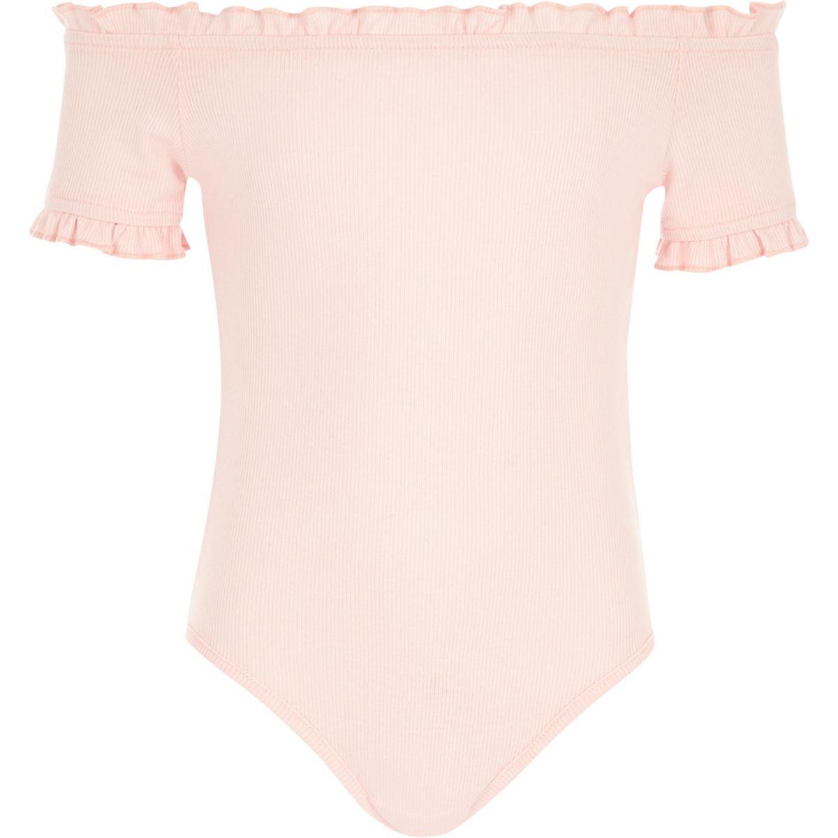 Body Bardot rose côtelé à volants pour fille