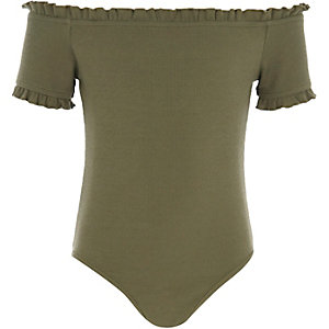 Girls green rib frill trim bardot bodysuit