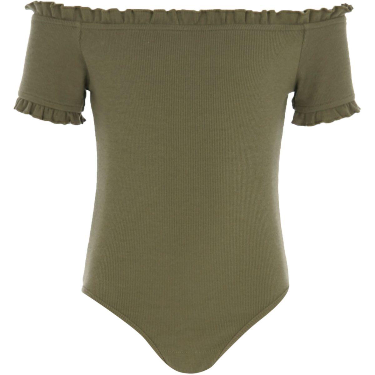 Girls green rib frill trim bardot bodysuit
