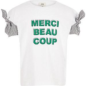 Wit gestreept T-shirt met 'Merci'-print en strik op de mouwen