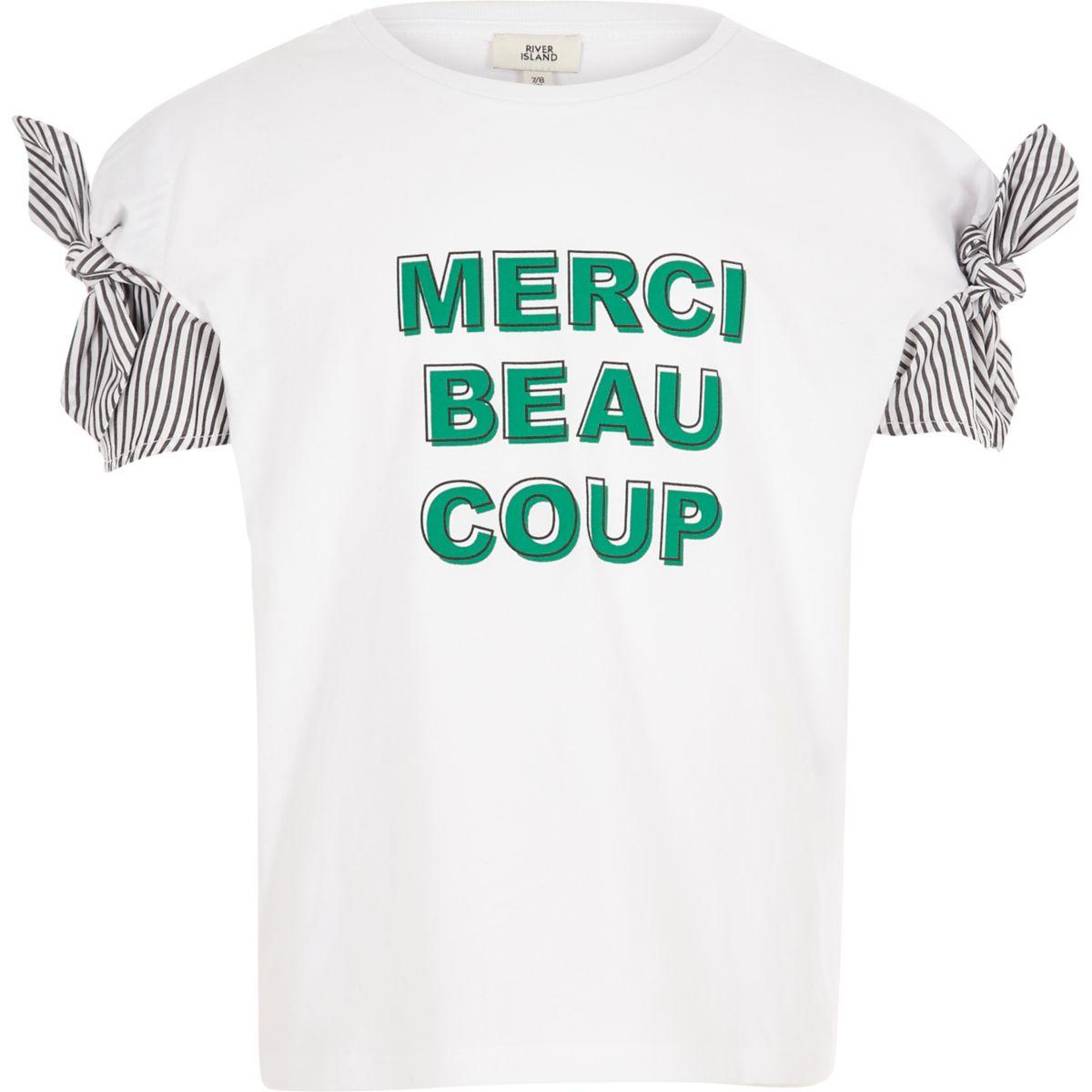 Girls white 'merci' stripe tie sleeve T-shirt