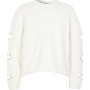 Girls white split sleeve heatseal sweatshirt