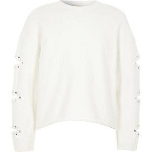 Wit sweatshirt met split in de mouwen en heatseal voor meisjes
